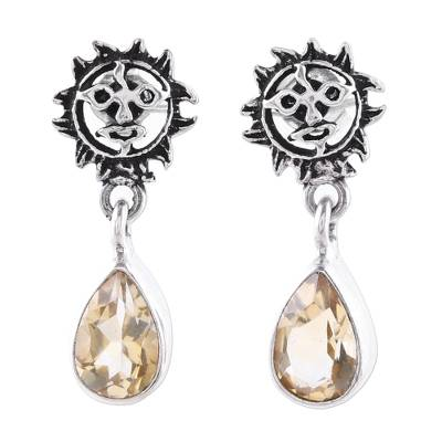 Indian Sterling Silver Yellow Citrine Sunny Dangle Earrings