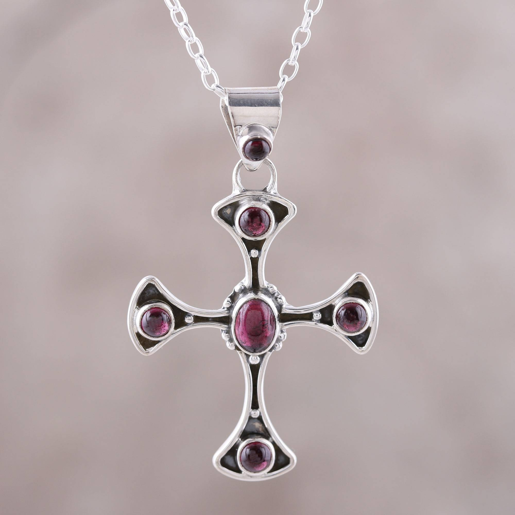 Garnet And Sterling Silver Dot Motif Cross Pendant Necklace