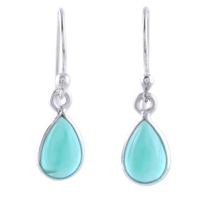 Onyx dangle earrings, 'Gentle Tear in Green' - Green Onyx and Sterling Silver Teardrop Dangle Earrings