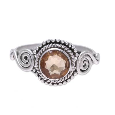 Citrine cocktail ring, 'Assam Allure' - Spiral Motif Citrine Cocktail Ring from India