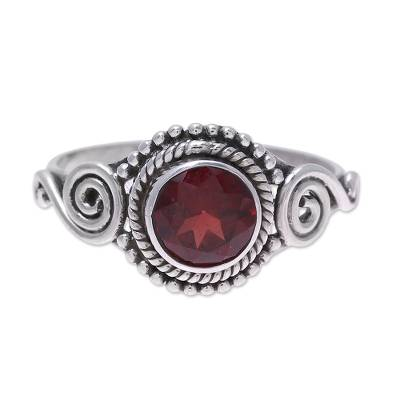 Garnet cocktail ring, 'Assam Allure' - Spiral Motif Garnet Cocktail Ring from India