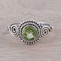 Peridot cocktail ring, 'Assam Allure' - Spiral Motif Peridot Cocktail Ring from India