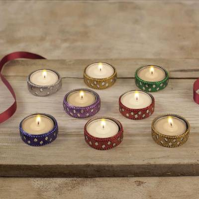 Aluminum and glass tea lights Festive Colors (set of 8)