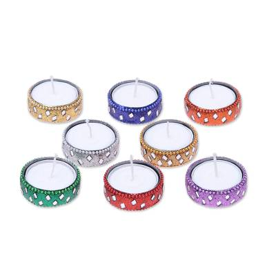 Aluminum and glass tea lights 'Glamour Aglow' (set of 8) - Sparkling Assorted Colors Resin-Coated Tea Lights (Set of 8)
