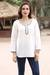 Cotton blend tunic, 'Carefree Ivory' - Linen and Cotton Ivory Tunic with Sequins and Beaded Accents (image 2) thumbail