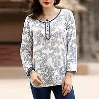 Viscose tunic, 'Vineyard Silhouette' - White and Blue Vine Motif Embellished Viscose Tunic
