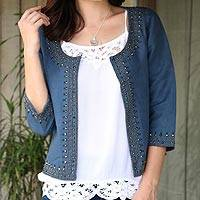 Linen and cotton blend jacket, 'Beaded Blue Elegance'