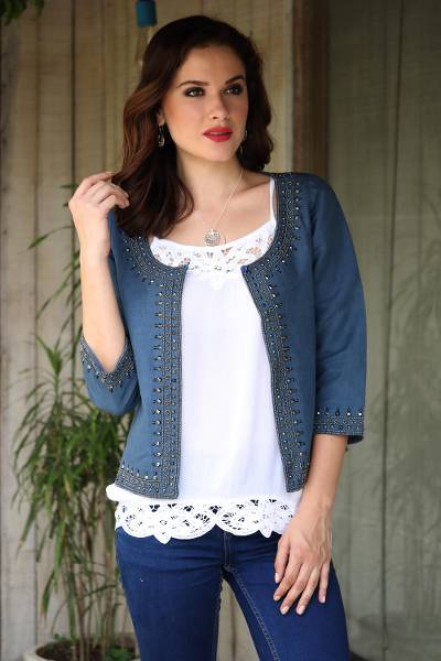 Linen and cotton blend jacket, 'Beaded Blue Elegance' - Blue Linen Cotton Blend Beaded Short Jacket