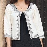 Beaded linen and cotton blend jacket, 'Beaded Ivory Elegance'