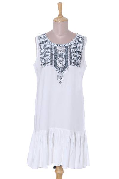 White and Navy Beaded Embroidered Sleeveless Dress