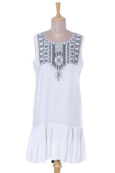 Beaded dress, 'Summer Stroll' - White and Navy Beaded Embroidered Sleeveless Dress