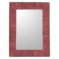 Wood wall mirror, 'Beautiful Jaipur' - Mango Wood Wall Mirror in Pink from India