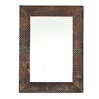 Resin wall mirror, 'Brown Mesh' - Handcrafted Resin Wall Mirror in Brown from India