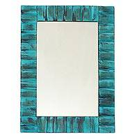 Mango wood wall mirror, 'Turquoise Fantasy' - Mango Wood Wall Mirror in Turquoise from India