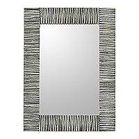 Bone wall mirror, 'Modern Strokes' - Handmade Bone Wall Mirror in Grey from India