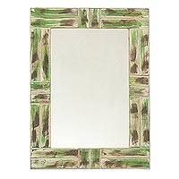 Mango wood wall mirror, 'Rustic Green' - Rustic Mango Wood Wall Mirror Crafted in India