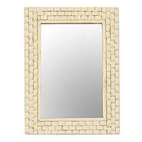 Bone wall mirror, 'Bone Mosaic' - Handcrafted Bone Mosaic Wall Mirror from India