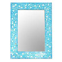 Glass mosaic wall mirror, 'Sparkling Beauty in Blue' - Glass Mosaic Wall Mirror in Blue from India