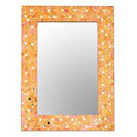 Glass mosaic wall mirror, 'Sparkling Beauty in Orange' - Glass Mosaic Wall Mirror in Orange from India