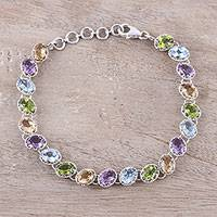 Rhodium plated multi-gemstone tennis-style bracelet, 'Sparkling Fusion' - Multi-Gemstone Tennis-Style Bracelet from India