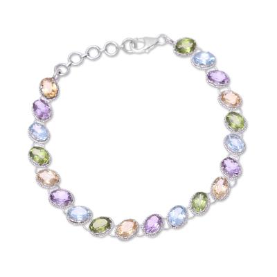 Rhodium plated multi-gemstone tennis-style bracelet, 'Sparkling Fusion' - Multi-Gemstone Tennis-Style Bracelet from India