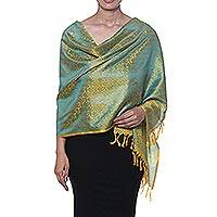 Silk shawl, 'Paisley Delicacy in Marigold' - Paisley Motif Silk Shawl in Marigold from India