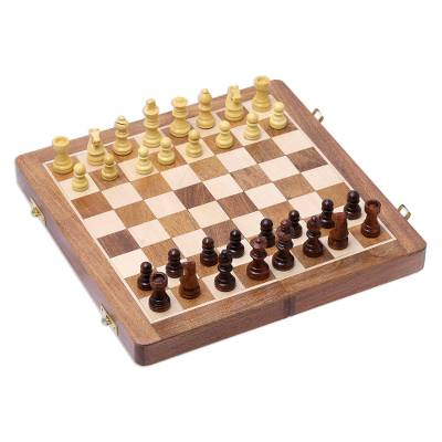 Wood chess set, 'Strategist' - Wood Travel Chess Set with Board Folding into Storage Case