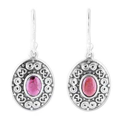 Swirl Motif Oval Garnet Dangle Earrings from India