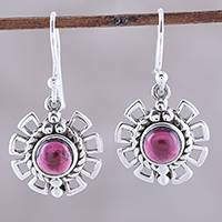 Garnet dangle earrings, 'Gleaming Bloom' - Gleaming Garnet Dangle Earrings Crafted in India