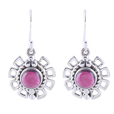 Garnet dangle earrings, 'Gleaming Bloom' - Gleaming Garnet Dangle Earrings Crafted in India