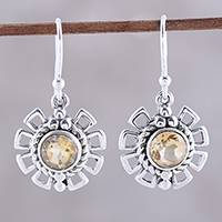 Citrine dangle earrings, 'Gleaming Bloom' - Gleaming Citrine Dangle Earrings Crafted in India