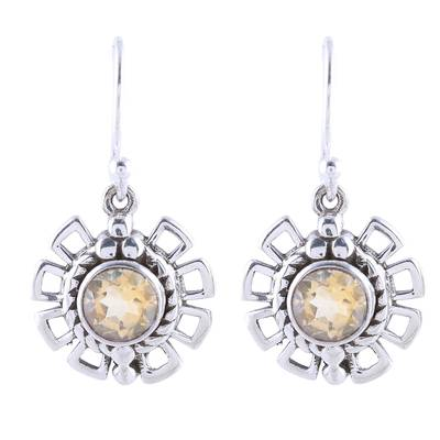 Gleaming Citrine Dangle Earrings Crafted in India
