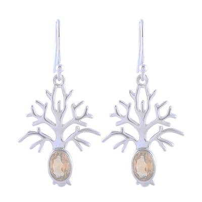 Tree-Shaped Citrine Dangle Earrings from India