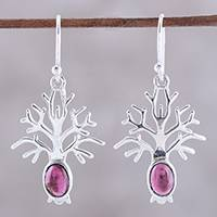 Garnet dangle earrings, 'Budding Tree' - Tree-Shaped Garnet Dangle Earrings from India
