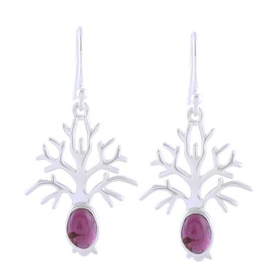 Tree-Shaped Garnet Dangle Earrings from India