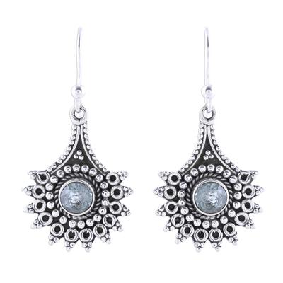 Blue topaz dangle earrings, 'Gemstone Flowers' - Handmade Blue Topaz Dangle Earrings from India