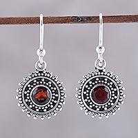 Garnet dangle earrings, 'Garnet Circles' - Handmade Circular Garnet Dangle Earrings from India