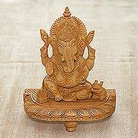Wood sculpture, 'Ganesha with Sweet Treats' - Hand-Carved Hindu Lord Ganesha Kadam Wood Sculpture
