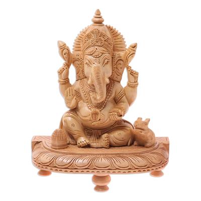 Wood sculpture, 'Ganesha with Sweet Treats' - Hand-Carved Hindu Lord Ganesha Kadam Wood Sculpture