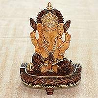 Wood sculpture, 'Auspicious Lord Ganesha'