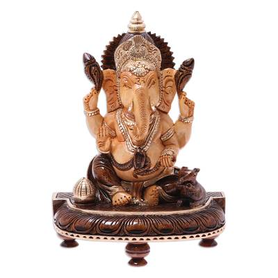 Wood sculpture, 'Auspicious Lord Ganesha' - Hand-Carved Kadam Wood Lord Ganesha Elephant Sculpture