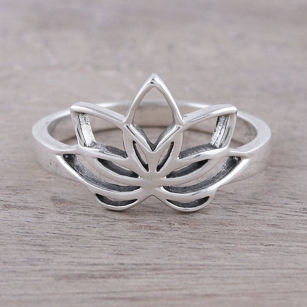 Sterling Silver Lotus Flower Cocktail Ring From India Graceful