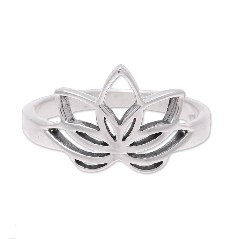 Unicef Market Sterling Silver Lotus Flower Cocktail Ring From