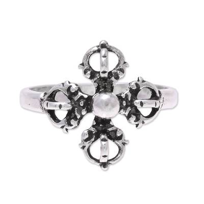 Sterling Silver Openwork and Dot Motif Flower Cocktail Ring