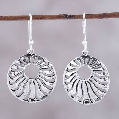 Sterling silver dangle earrings, 'Abundant Rays' - Sterling Silver Openwork Circle Dangle Earrings from India