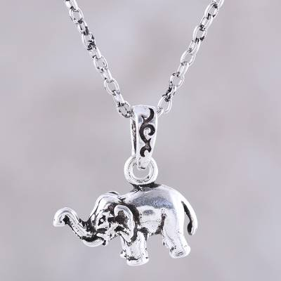 Sterling silver pendant necklace, 'Serene Elephant' - Sterling Silver Elephant Pendant Necklace from India