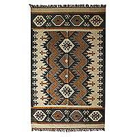 Wool dhurrie rug, 'Geometric Homestead'