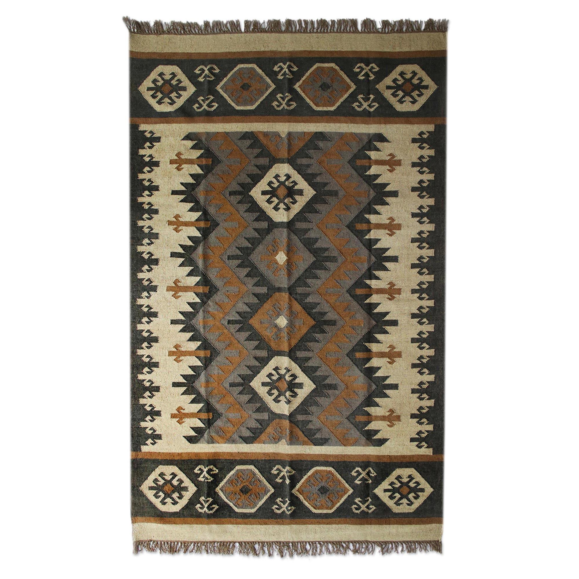 Earth Tone Geometric Wool Dhurrie Rug From India 3x5 5x8 Geometric Homestead