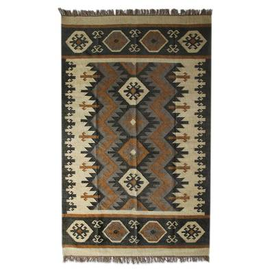 Wool dhurrie rug, 'Geometric Homestead' - Earth-Tone Geometric Wool Dhurrie Rug from India (3x5, 5x8)