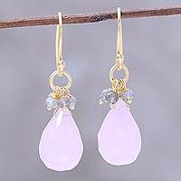 Gold plated rose quartz and labradorite dangle earrings, 'Glittering Pink Drops' - 22k Gold Plated Rose Quartz and Labradorite Dangle Earrings